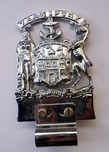 CAR BADGE. Extremely Rare Vintage City of EDINBURGH Transport Council Official Car Mascot. Nickel Plate and in Excellent Condition