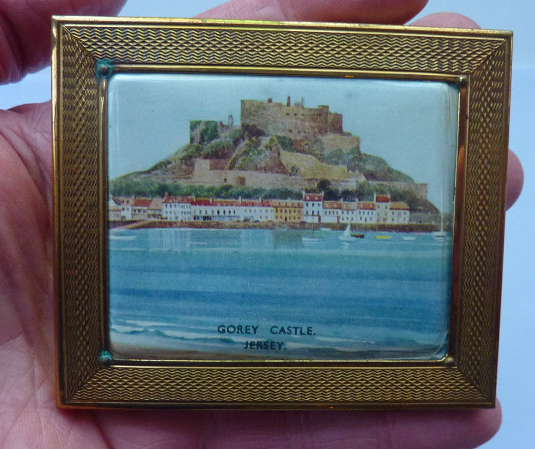 1940s Gwenda Cigarette Case / Business Card Case with View of Gorey Castle, Jersey