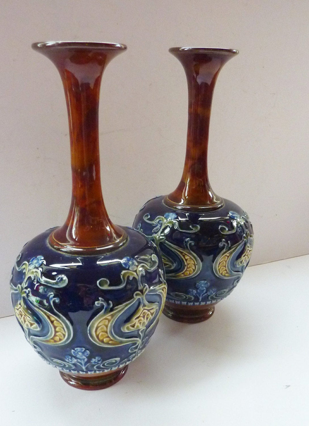Matching Pair of ROYAL DOULTON LAMBETH Tube Lined Art Nouveau Faience Bottle / Trumpet Vases