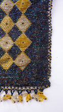 Load image into Gallery viewer, ART DECO Glass Beaded Bag with Celluloid Curved Clasp and Coffee Bean Details. Fabulous Vintage 1930s Evening Bag