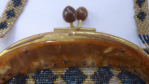 ART DECO Glass Beaded Bag with Celluloid Curved Clasp and Coffee Bean Details. Fabulous Vintage 1930s Evening Bag