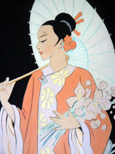Load image into Gallery viewer, Genuine 1930s ART DECO Watercolour. Japanese Lady in a Garden, Carrying a Parasol. Signed and Dated 1933