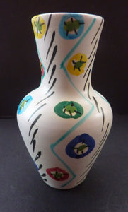 1950s Italian Ceramic Vase with Hand Painted Abstract Design. Cute Miniature Vase