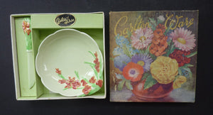 1950s Carlton Ware Forget me Not Butter Dish with Rare Spreading Knife. ORIGINAL BOX