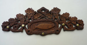 Unusual Antique FOLK ART / SCANDINAVIAN Carved Wood Coat Hook with Tiny Brass Pegs for Little Drawstring Bags: Dated 1886