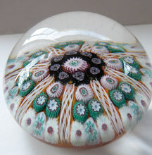 Load image into Gallery viewer, Scottish Glass. Strathearn Millefiori Canes and Latticino Eight Spoke MAGNUM Paperweight