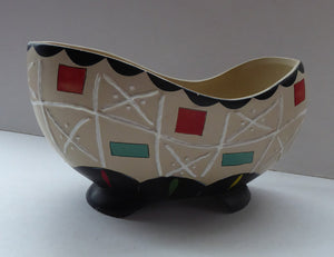 Rare BRENTLEIGH WARE 1950s Decorative Footed Bowl: NOVENTA Shape and Rarer Beige Colour