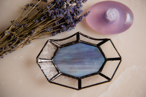 Stained Glass Soap Dish with Lavendar Sage Soap
