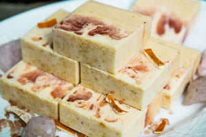 PROTECTION Pink Himalayan Sea Salt Soap with Dried Orange Peels, Goat's Milk and Honey