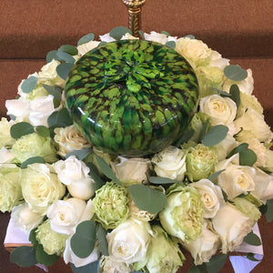 Custom urn with a Shamrock on top. Designed for a lovely Irish lady.