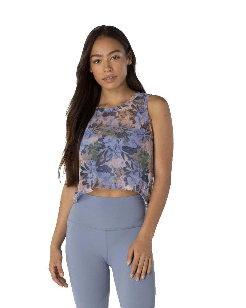 Botanical Bouquet Mesh Balanced Cropped Tank - Mukha Yoga