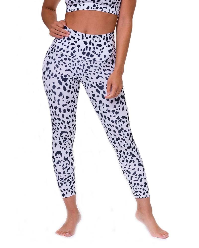 High Basic Midi White Cheetah Legging - Mukha Yoga