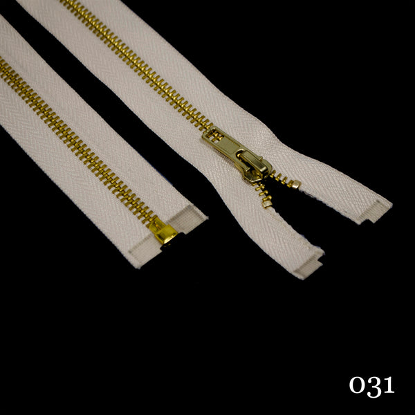 "#5 36"" Brass Separating Zipper- Various Colors"
