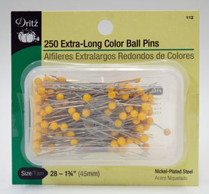 Extra Long Color Ball Pins - Size 28 - 250-Pack