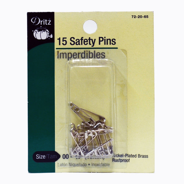 #00 - #0 Safety Pins - Rustproof Nickel - 15 pack