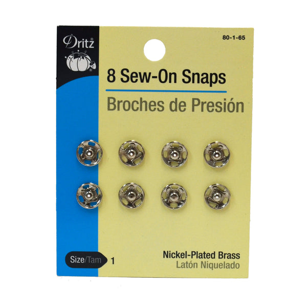 Nickel-Plated Brass Sew-On Snaps - Multiple Sizes