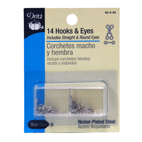 Hooks & Eyes - Nickel - 14-pk