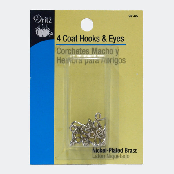 Coat Hook & Eyes -Black or Nickel - 4-pk