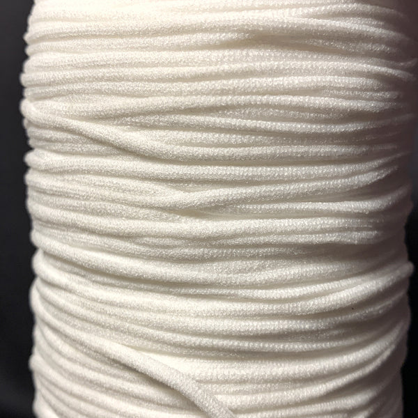 "1/8"" Round Stretch Nylon Cord  - White or Black -10 yards"