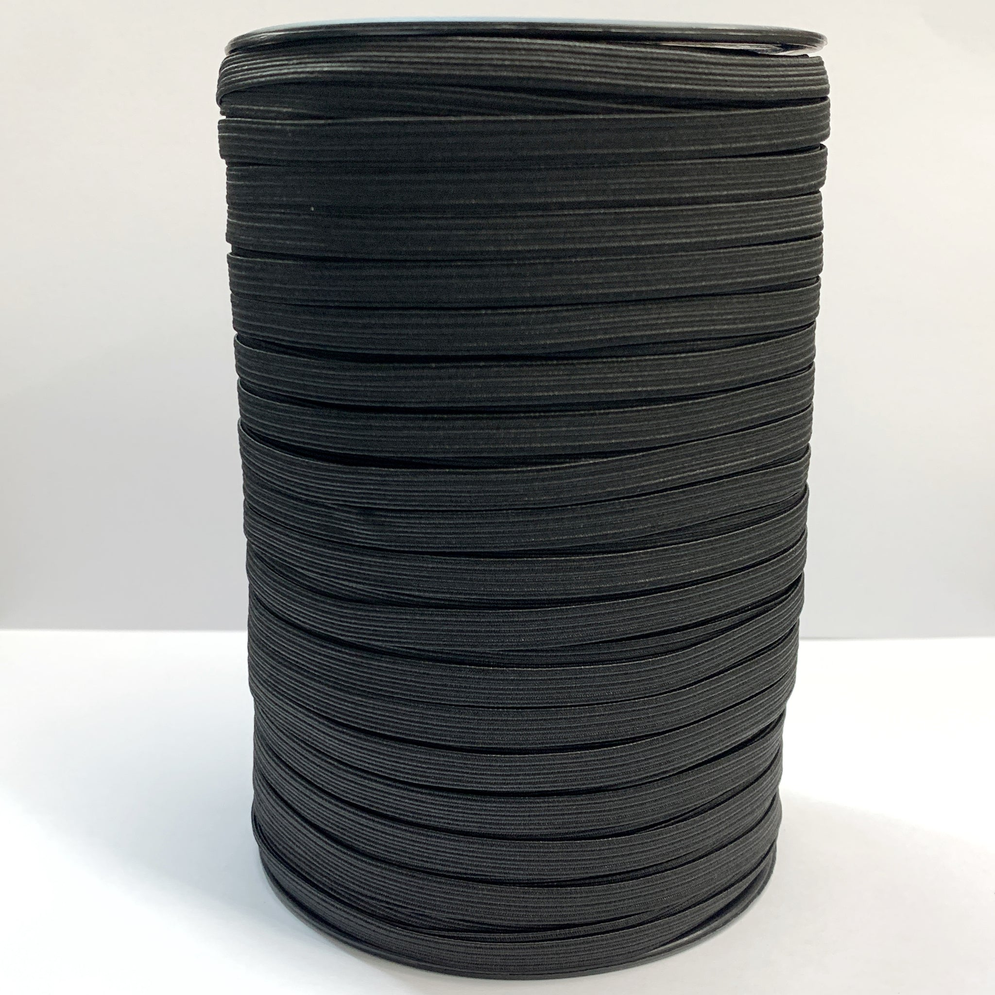 "1/4"" Braided Elastic - Black or Optic White - 1 Roll (200 Yards)"