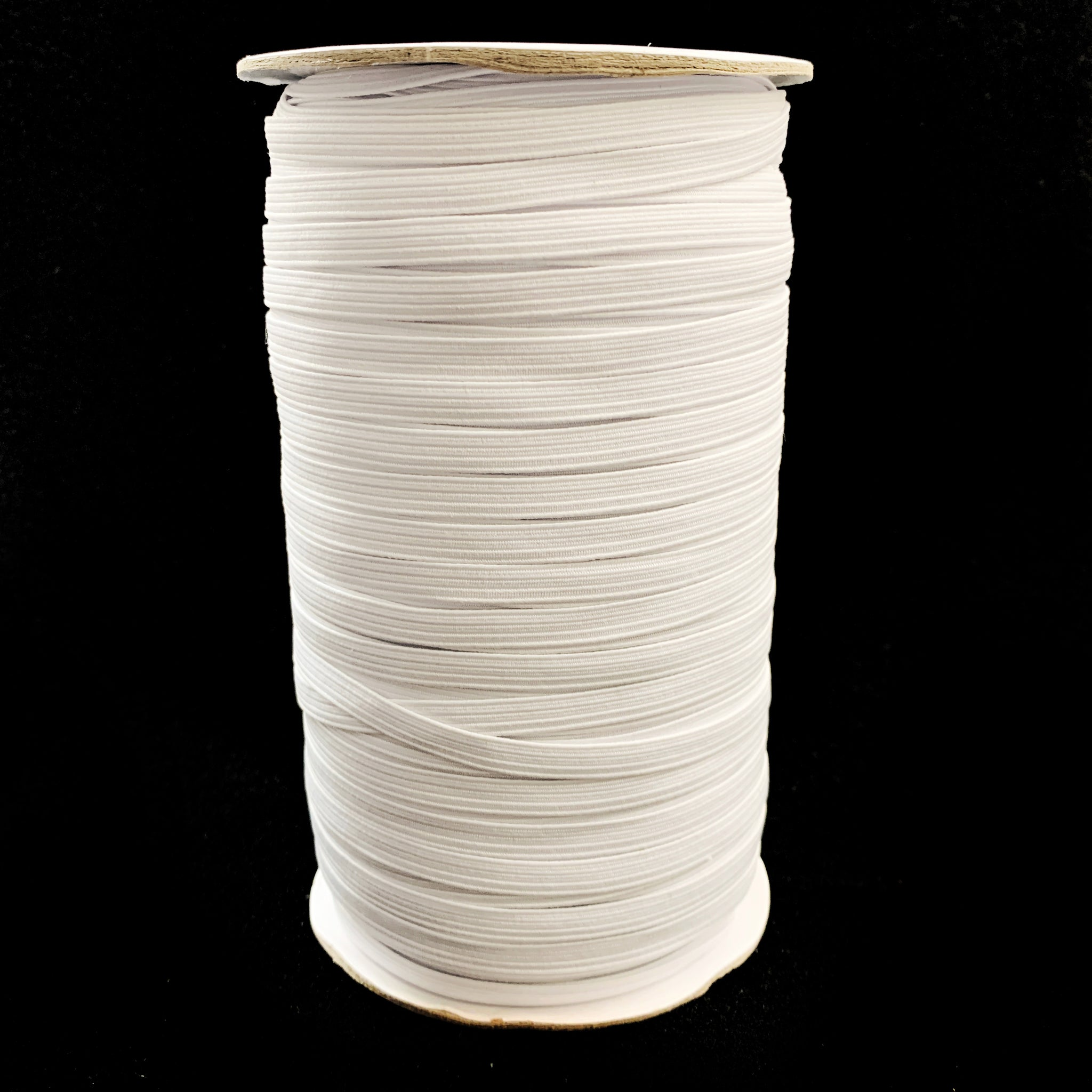 "1/4"" Braided Elastic - White - 1 Roll (200 Yards)"