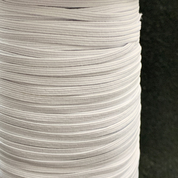 "1/8"" Braided Elastic - Black or White - 1 Roll (200 Yards)"