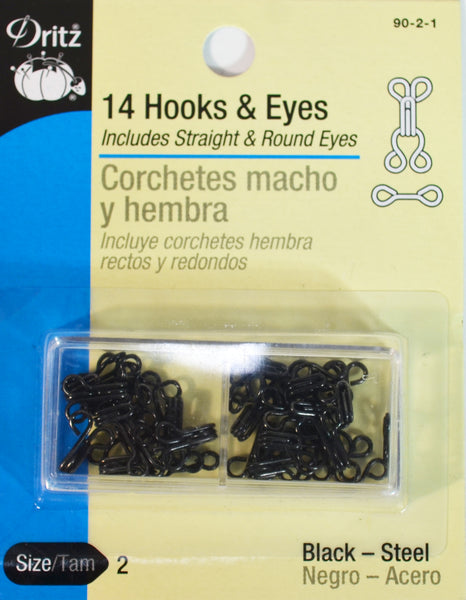 Hooks & Eye - Black - 14-pk