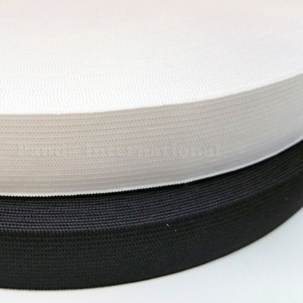 "1"" Knitted Elastic - Black or White - 1 Roll (50yd)"
