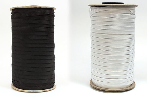 "3/8"" Braided Elastic - Black or White - 1 Roll (144 Yds)"