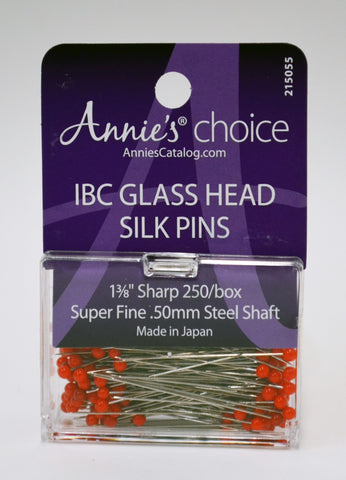 Super Fine Red Glass Head Silk Pins - 250-PACK