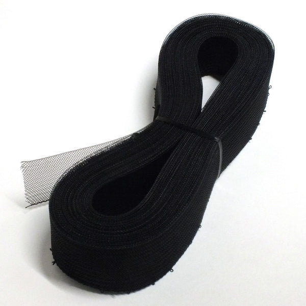 "2"" Horse Hair Mesh Braided Boning - Black - 36YD"