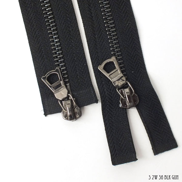 "DB 2-Way Black Zipper - Gunmetal Teeth #5 - 36"" (Length Customizable)"