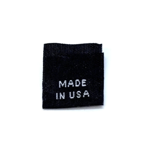 """MADE IN USA"" Woven Label - Black"