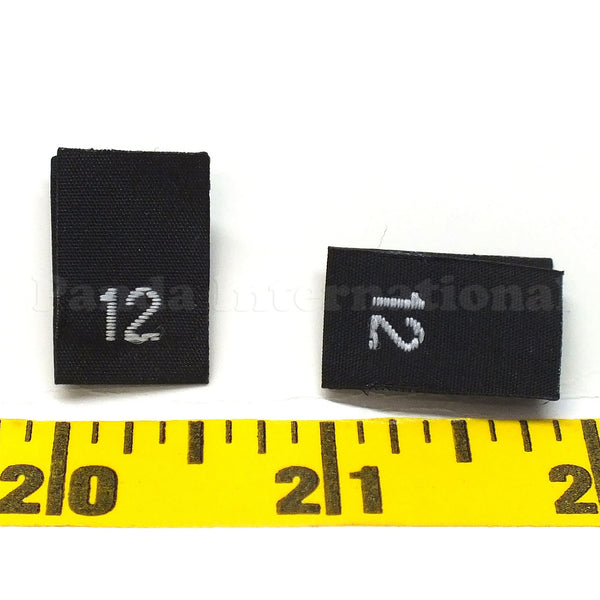 WOVEN NUMBER SIZE LABELS - BLACK