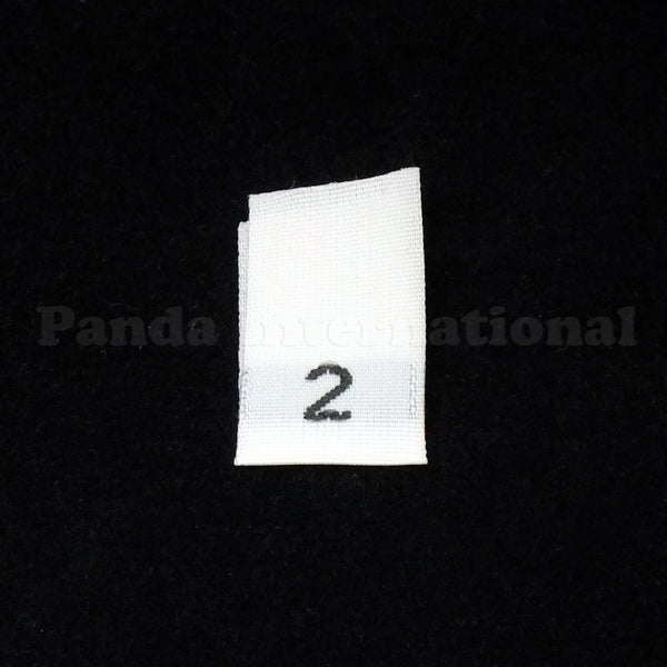 WOVEN NUMBER SIZE LABELS - WHITE