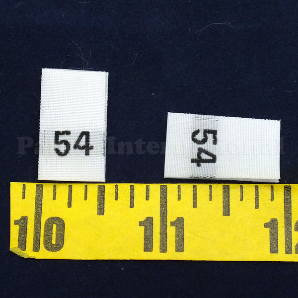 WOVEN NUMBER SIZE LABELS - WHITE - 0 to 60