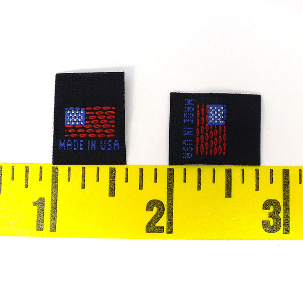 """MADE IN USA"" FLAG Woven Label - Black"