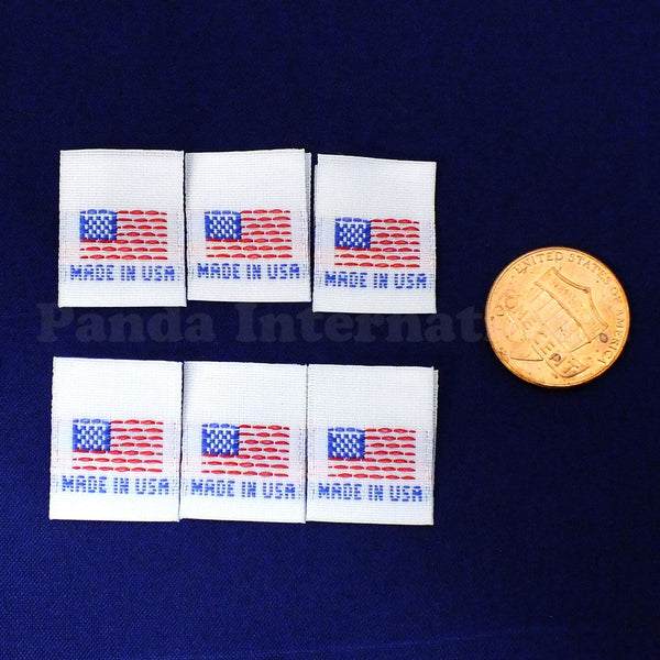 """MADE IN USA"" FLAG Woven Label - White"