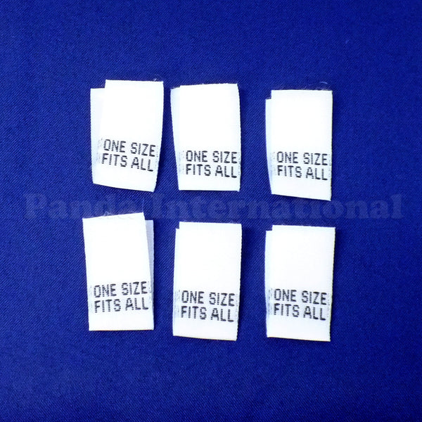 """ONE SIZE FITS ALL"" Woven Label - White"