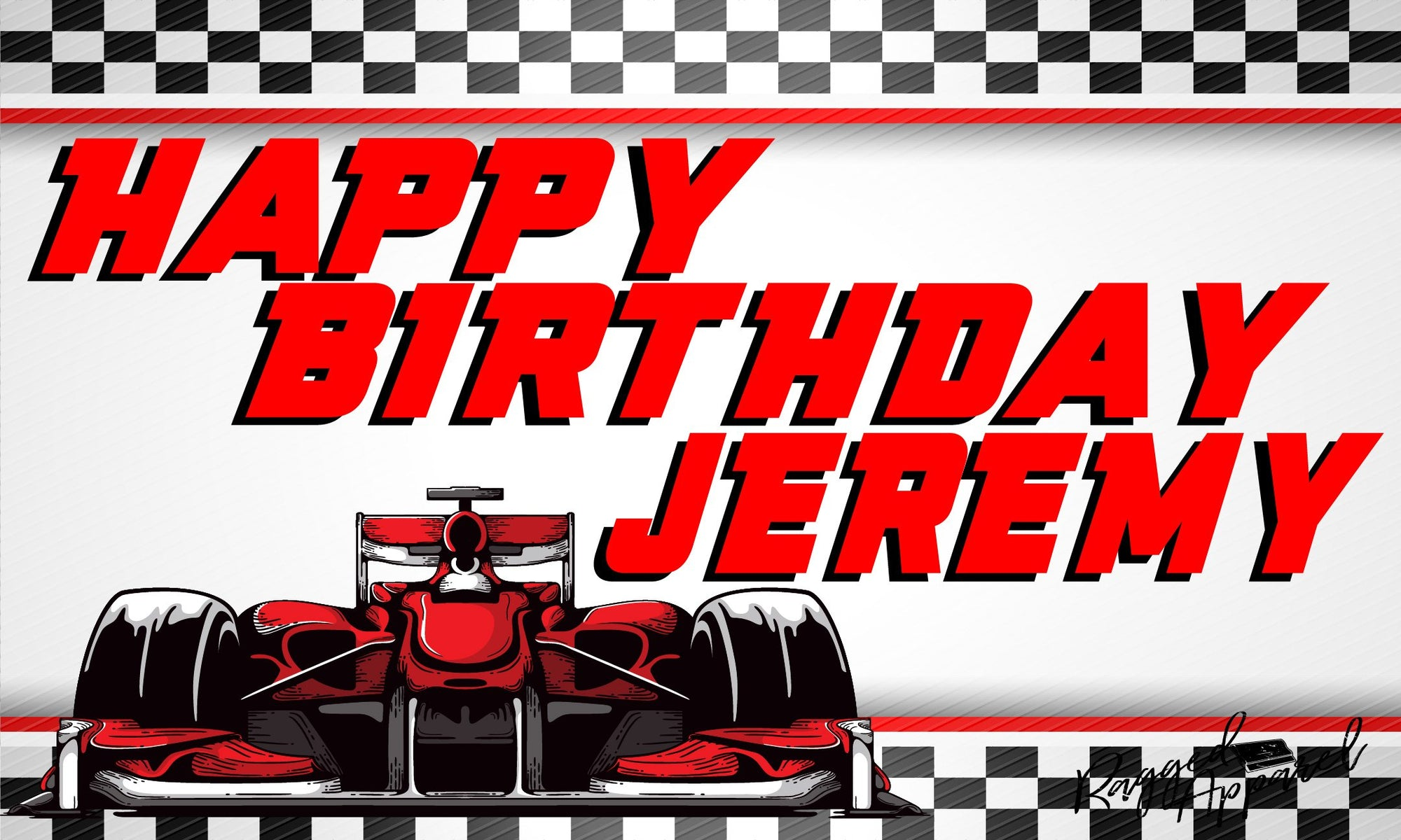 Boys Personalized Race Car Birthday Banner - Ragged Apparel Screen Printing and Signs - www.nmshirts.com