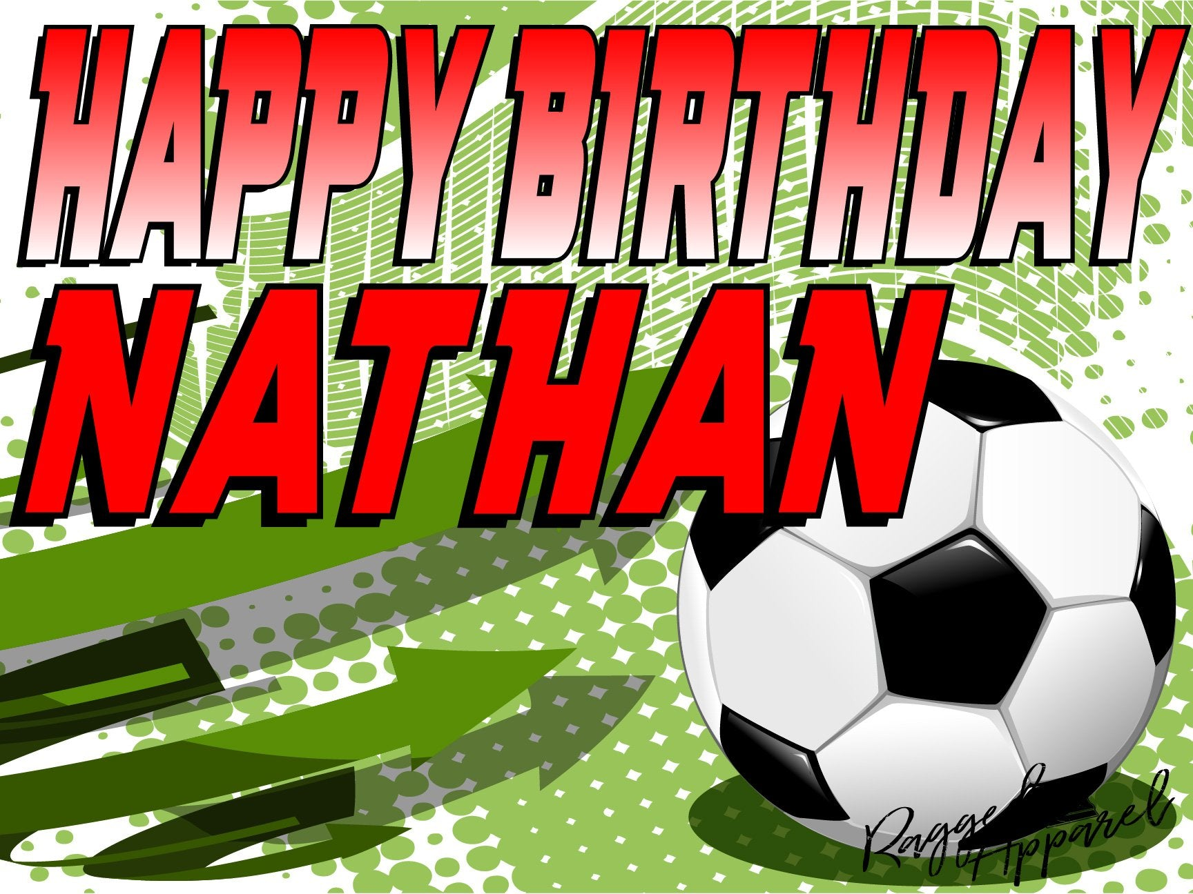 Kids Personalized Soccer Birthday Sign - Ragged Apparel Screen Printing and Signs - www.nmshirts.com