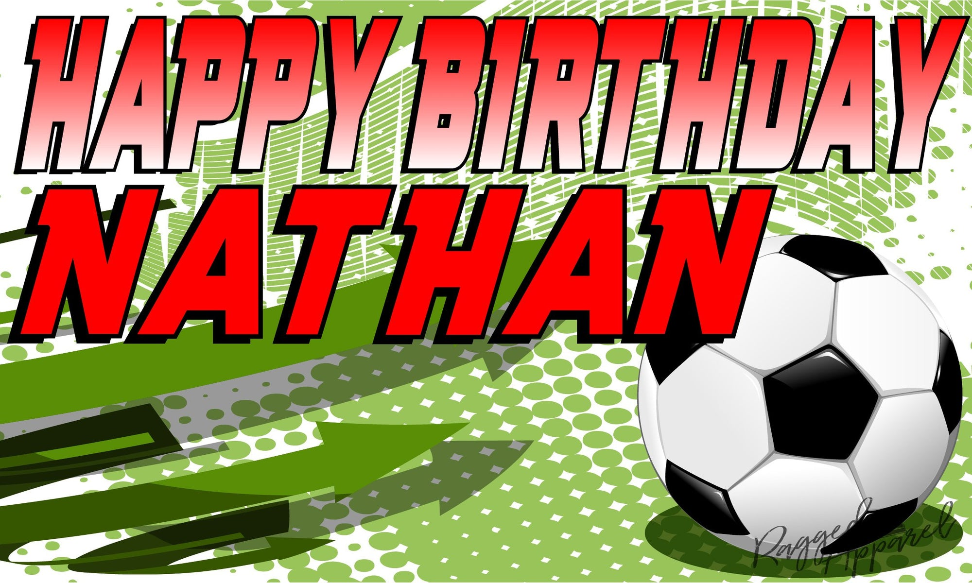 Kids Personalized Soccer Birthday Banner - Ragged Apparel Screen Printing and Signs - www.nmshirts.com