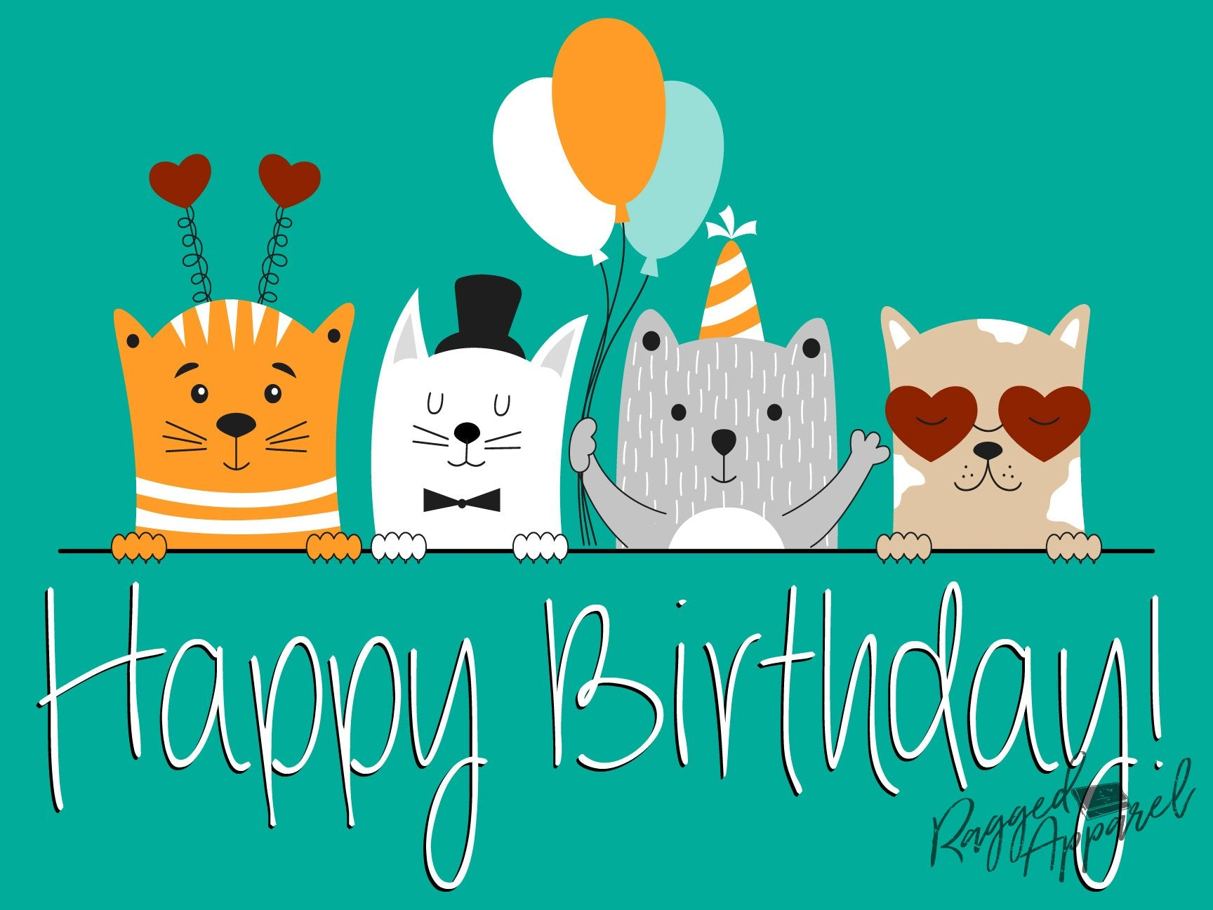Birthday Sign with Animal Friends - Ragged Apparel Screen Printing and Signs - www.nmshirts.com