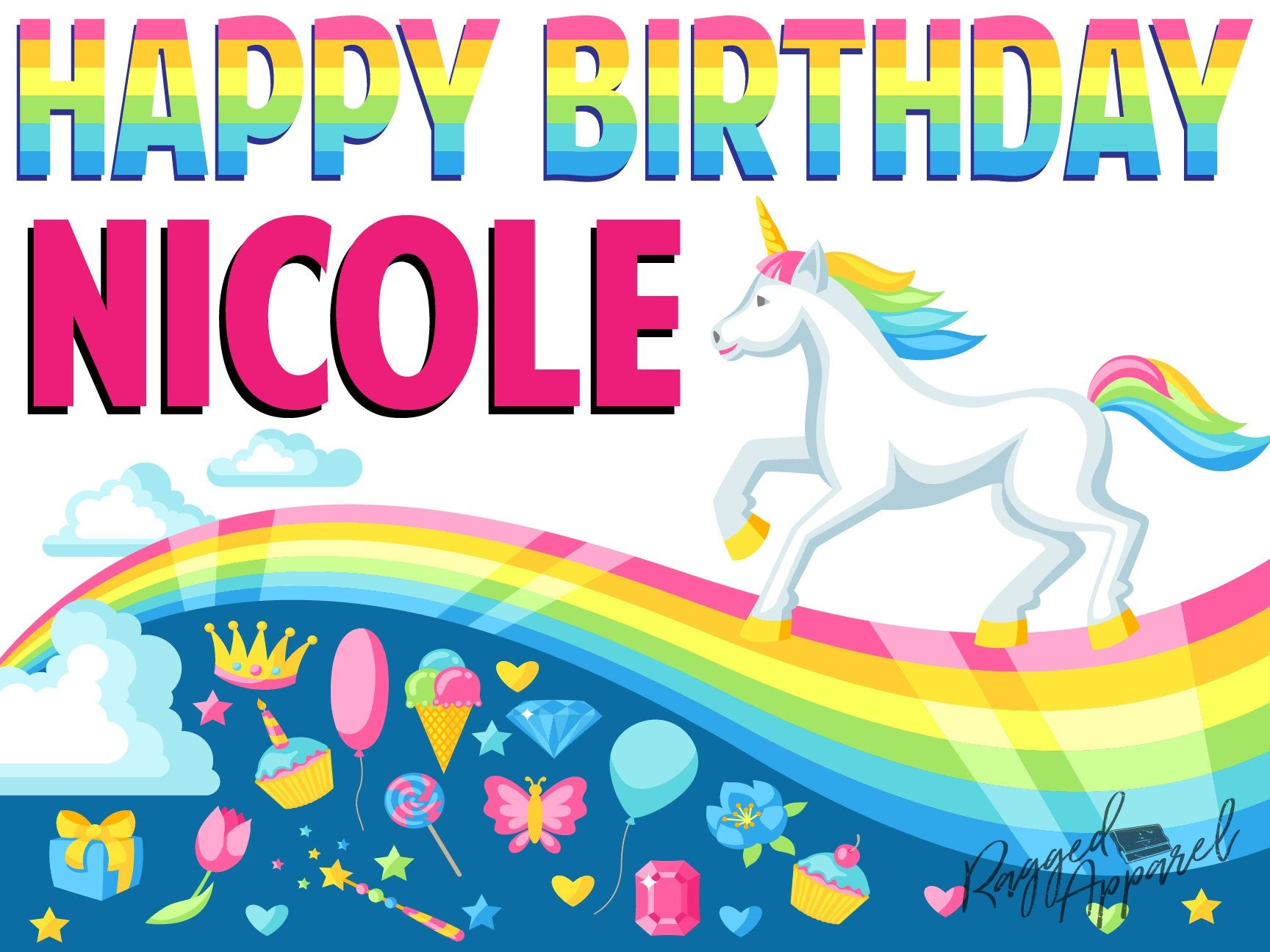 Personalized Unicorn Birthday Sign - Ragged Apparel Screen Printing and Signs - www.nmshirts.com