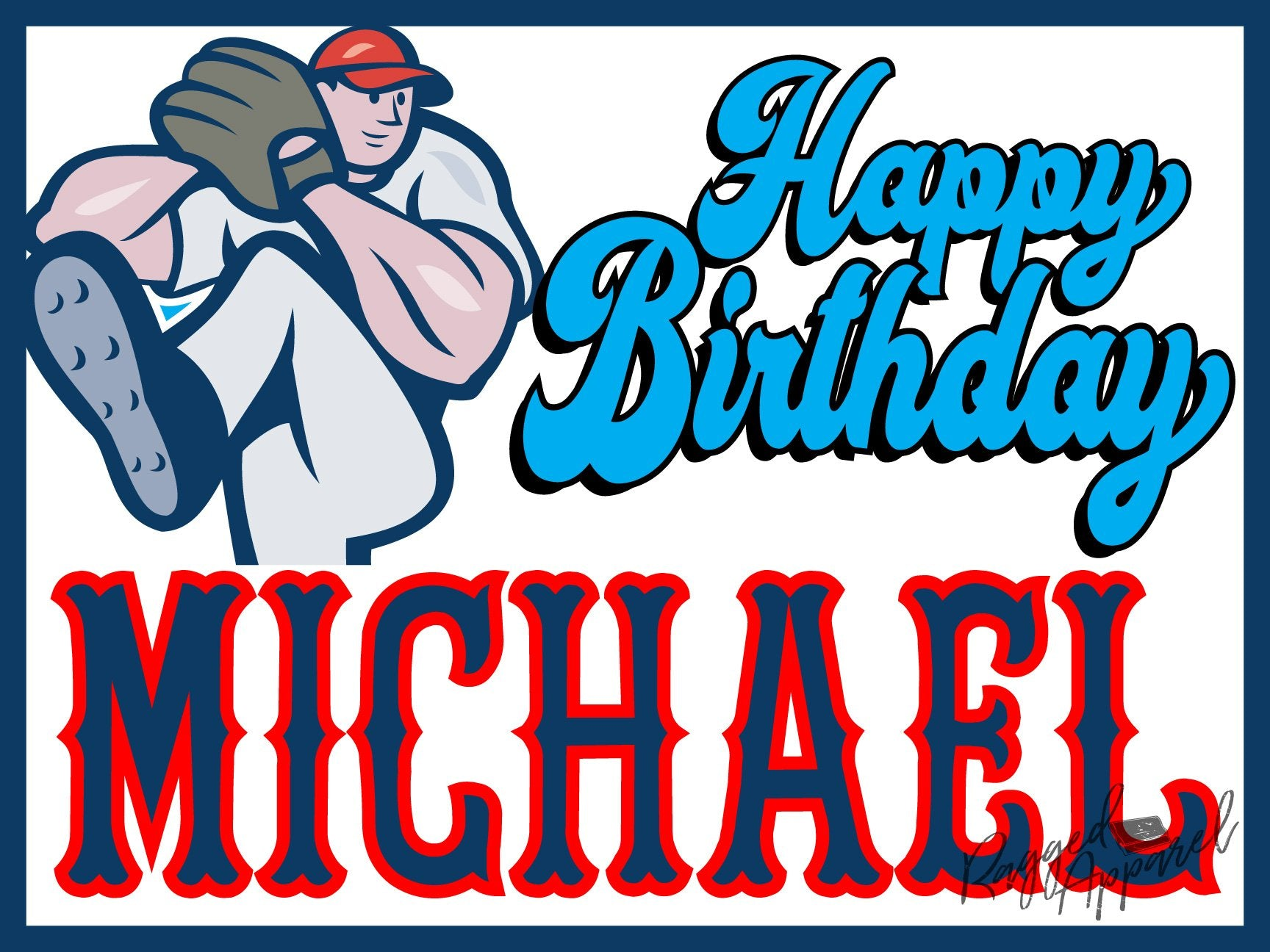 Kids Personalized Baseball Birthday Sign - Ragged Apparel Screen Printing and Signs - www.nmshirts.com