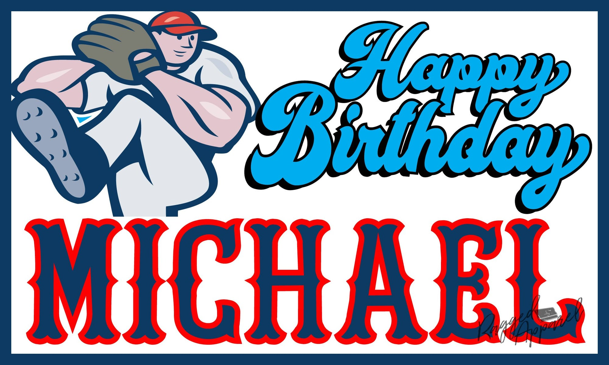 Kids Personalized Baseball Birthday Banner - Ragged Apparel Screen Printing and Signs - www.nmshirts.com