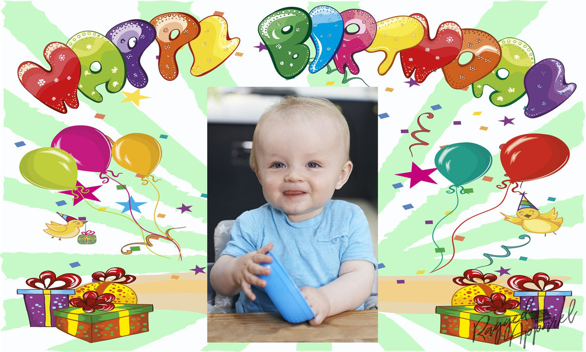Kids Photo Birthday Banner With Balloons and Presents - Ragged Apparel Screen Printing and Signs - www.nmshirts.com