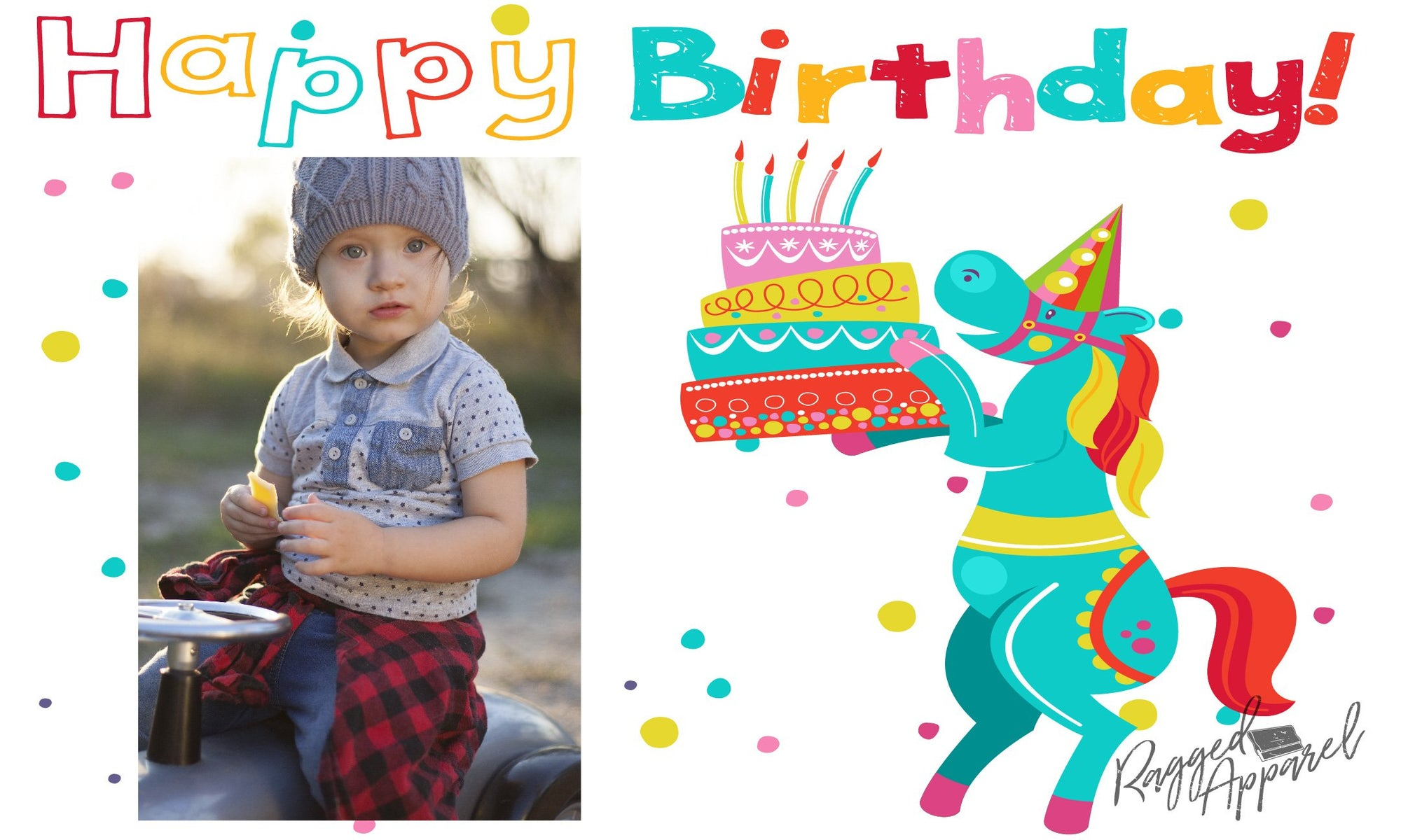 Kids Photo Birthday Banner With Horse - Ragged Apparel Screen Printing and Signs - www.nmshirts.com