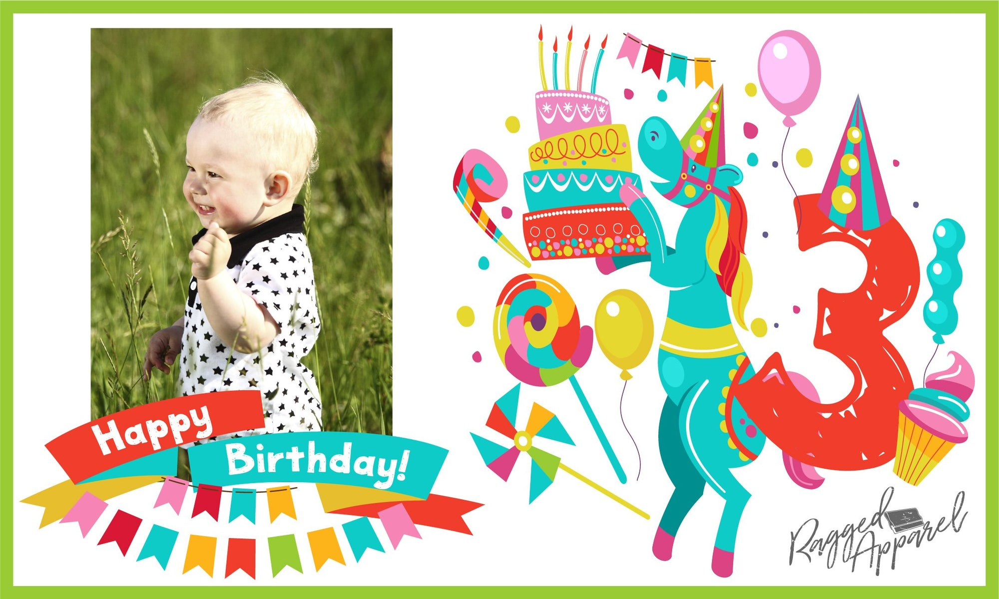 Kids Photo Birthday Banner With Personalized Age - Ragged Apparel Screen Printing and Signs - www.nmshirts.com