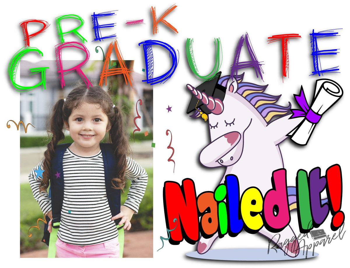 Girls Pre-K Graduate Personalized Photo Sign With Dabbing Unicorn - Ragged Apparel Screen Printing and Signs - www.nmshirts.com